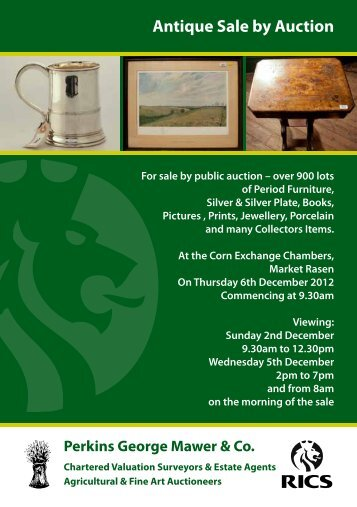 Antique Sale by Auction - Perkins, George, Mawer & Co.