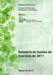Relatório de Gestão 2011 - Portal do Instituto Federal Fluminense - Iff