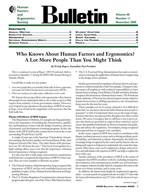 Who Knows About Human Factors and Ergonomics? A Lot More ...