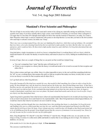 Mankind's First Scientist and Philosopher - Journal of Theoretics