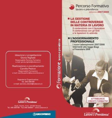 Scarica la Brochure completa del Percorso Formativo 2007/2008