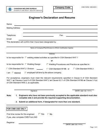 resume declaration format