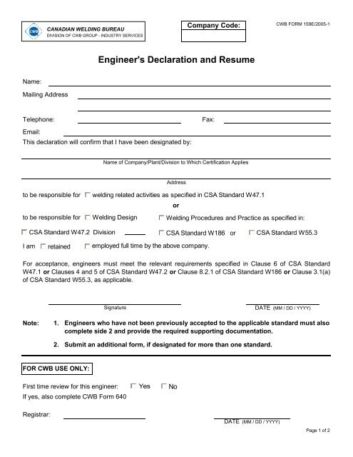 0159e Engineers Declaration And Resume Cwb Group