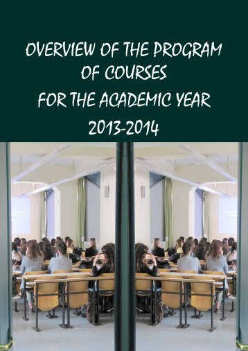 overview of the program of courses for the academic year 2013-2014