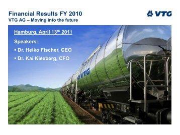 Financial Results FY 2010 - Investor Relations - VTG AG
