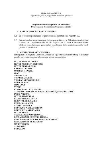 Reglamento Comercios Afiliados Julio 2012 - Servivalores