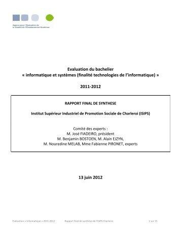RFS Informatique ISIPS - Agence pour l'evaluation de la qualite de l ...