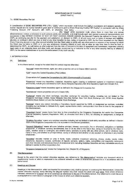 Memorandum Of Charge Form Ocbc Securities