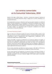 Los centros comerciales en la Comunitat Valenciana, 2010 - Pateco