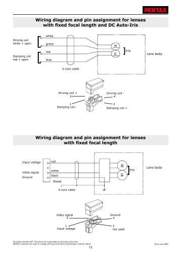 techical information wiring diagram and pin security systems wiring diagram and pin assignment for lenses fixed pentax