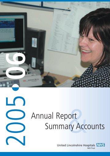 2005-2006 (PDF, 1.28 MB) - United Lincolnshire Hospitals NHS Trust
