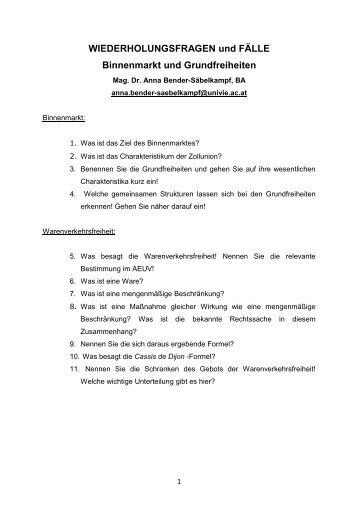 WIEDERHOLUNGSFRAGEN und FÄLLE Binnenmarkt und ...