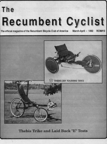 Page 1 The official inagazine ofthe Recumbent Bicycle Club of ...