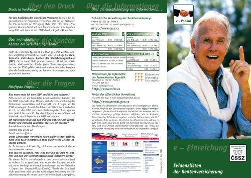 Flugblatt Evidenzlisten der Rentenversicherung