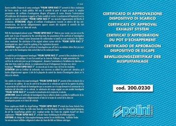 Certificato/Certificate - Polini