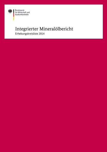 Integrierter Mineralölbericht - Bafa