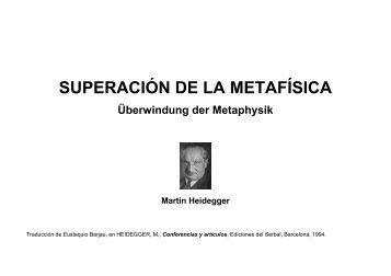 Superación de la Metafísica - Heidegger