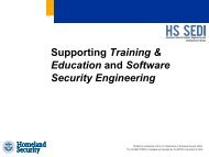 Supporting Training & Education and Software ... - Build Security In