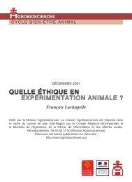 Quelle éthique en expérimentation animale - Mission d'animation ...