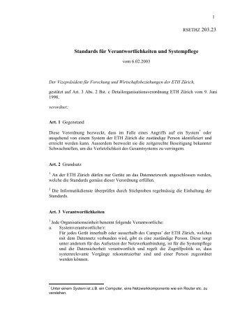 Standards für Verantwortlichkeiten und ... - ITEK - ETH Zürich