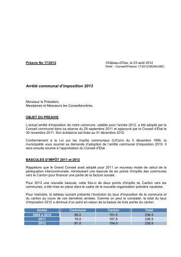 Préavis 17-2012 - Arrêté d'imposition pour l'année ... - Château-d'Oex