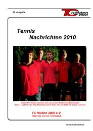 Tennis Nachrichten 2010 - TC Halden 2000