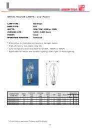 METAL HALIDE LAMPS – Low Power