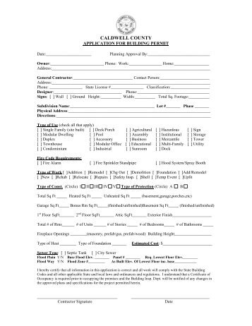 Application for Building Permit - Caldwell County Government