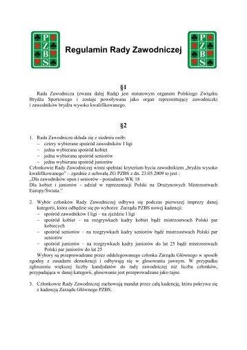 Regulamin Rady Zawodniczej - Polski Związek Brydża Sportowego