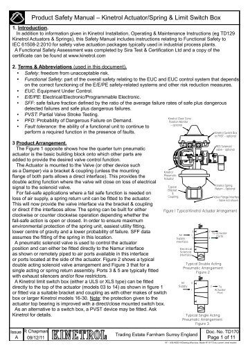 Product Safety Manual âu20acu201c Kinetrol Actuator/Spring U0026 Limit Switch Box