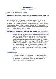 """PRESSETEXT CD """"eMANNzipation"""" Mann bleibt ... - kulturmanager.at"""