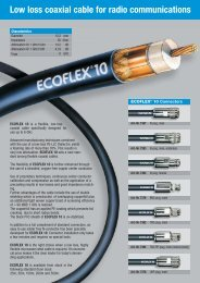 Low loss coaxial cable for radio communications