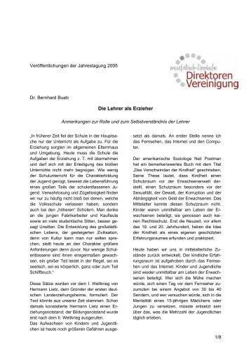 Anmerkungen zur Rolle des Lehrers