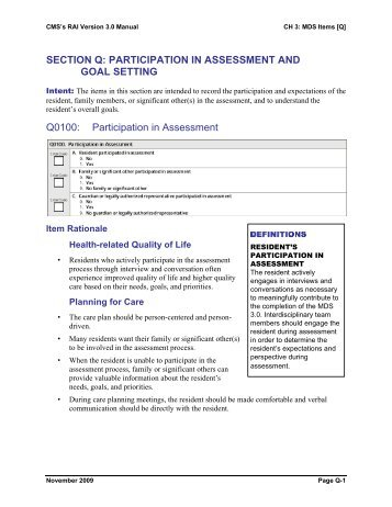 MDS 3.0 Resident Assessment Manual Chapter 2 - Aging and Long ...