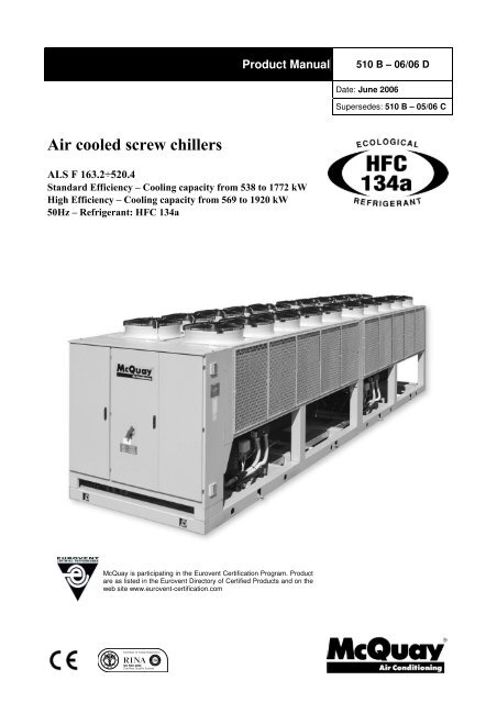 ALS F air cooled screw chillers - McQuay