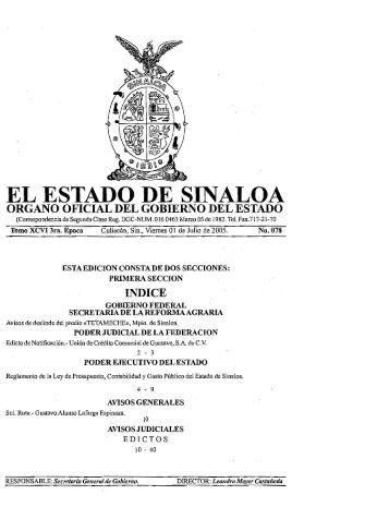 el estado de sinaloa organo oficial del gobierno del estado
