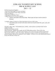 LEBLANC ELEMENTARY SCHOOL PRE-K SUPPLY LIST 2011 – 12