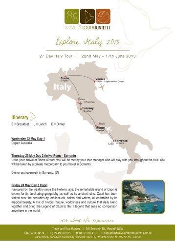 Explore Italy 2013 - Travel & Tour Hunters