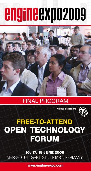FREE TO ATTEND - open technoLogY FoRUm - Engine Expo