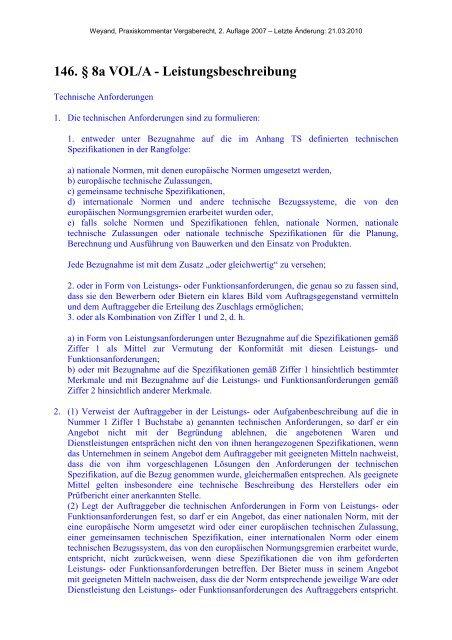 146. § 8a VOL/A - Leistungsbeschreibung - Oeffentliche Auftraege