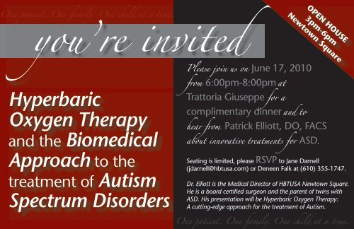 you're invited - Hyperbaric Therapy USA