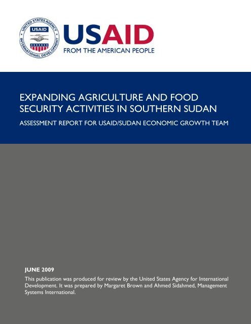 expanding agriculture and food security activities in ... - part - usaid