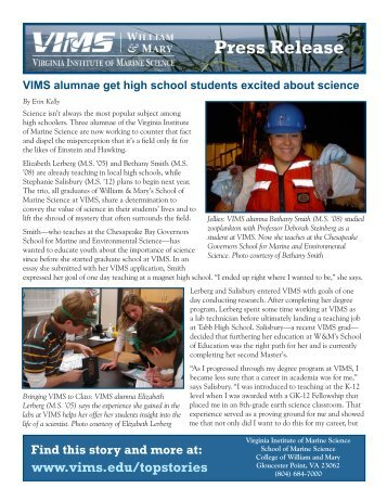 PDF: Printable Press Release - Virginia Institute of Marine Science