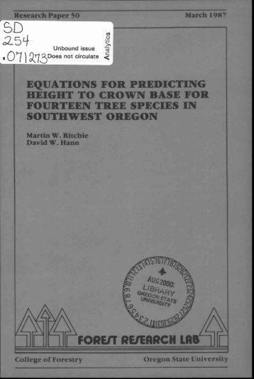 equations for predicting height to crown base for - ScholarsArchive ...