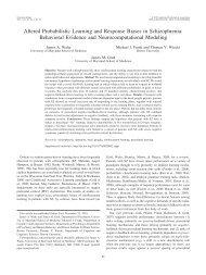 Behavioral Evidence and Neurocomputational ... - Michael Frank