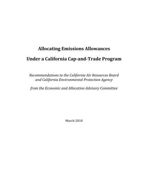 Allocating Emissions Allowances - California Climate Change Portal ...
