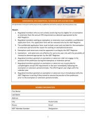 confidential application form - ASET