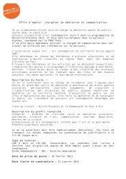 Offre d'emploi: chargé(e) de médiation et communication Le ... - Cipac