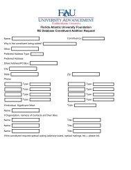 Constituent Request Form - Florida Atlantic University Foundation, Inc.
