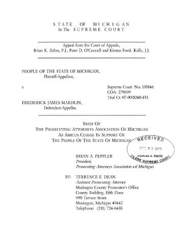 Amicus Curiae Brief - Michigan Courts - State of Michigan
